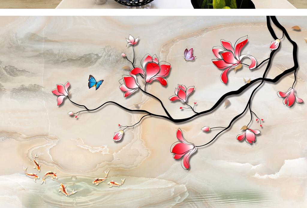新中式手绘工笔梅花背景墙