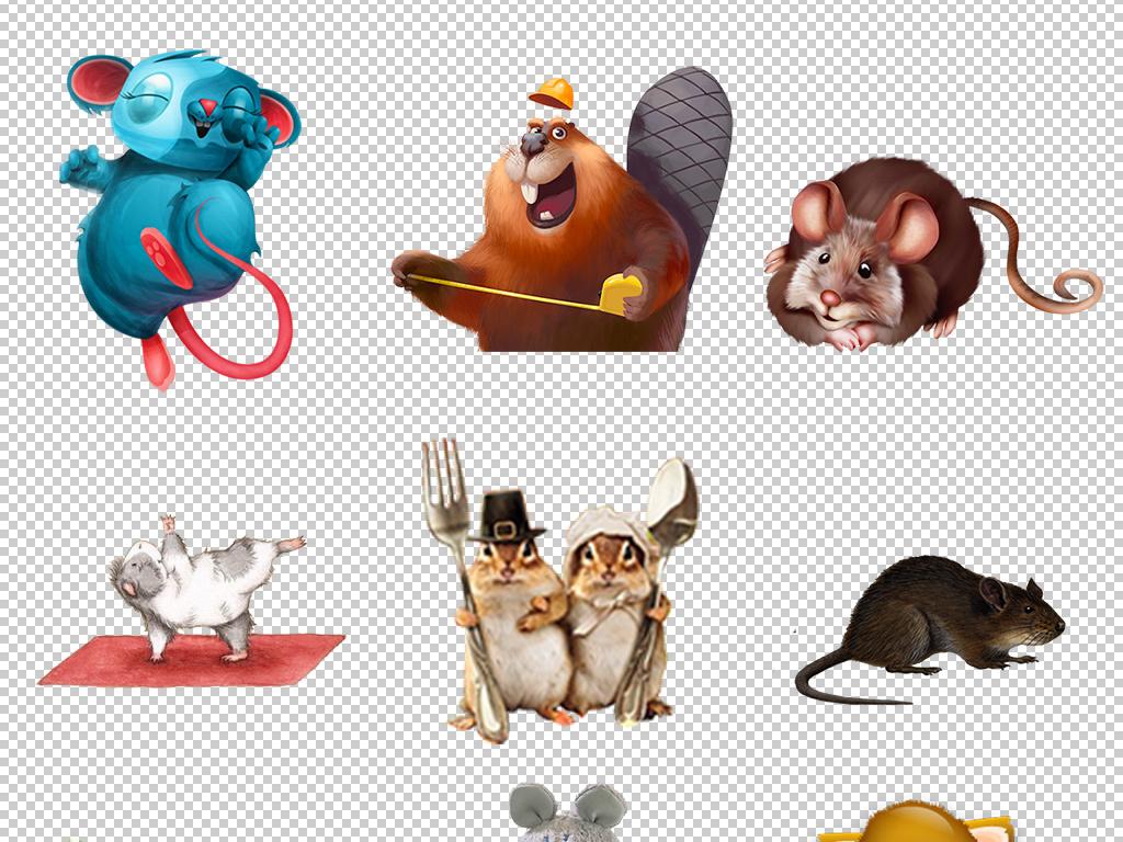 卡通可爱手绘小老鼠松鼠png免扣设计素材