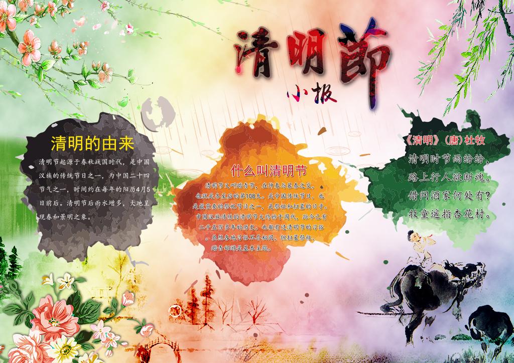 水彩中国风清明节小报春游手抄报psd模板