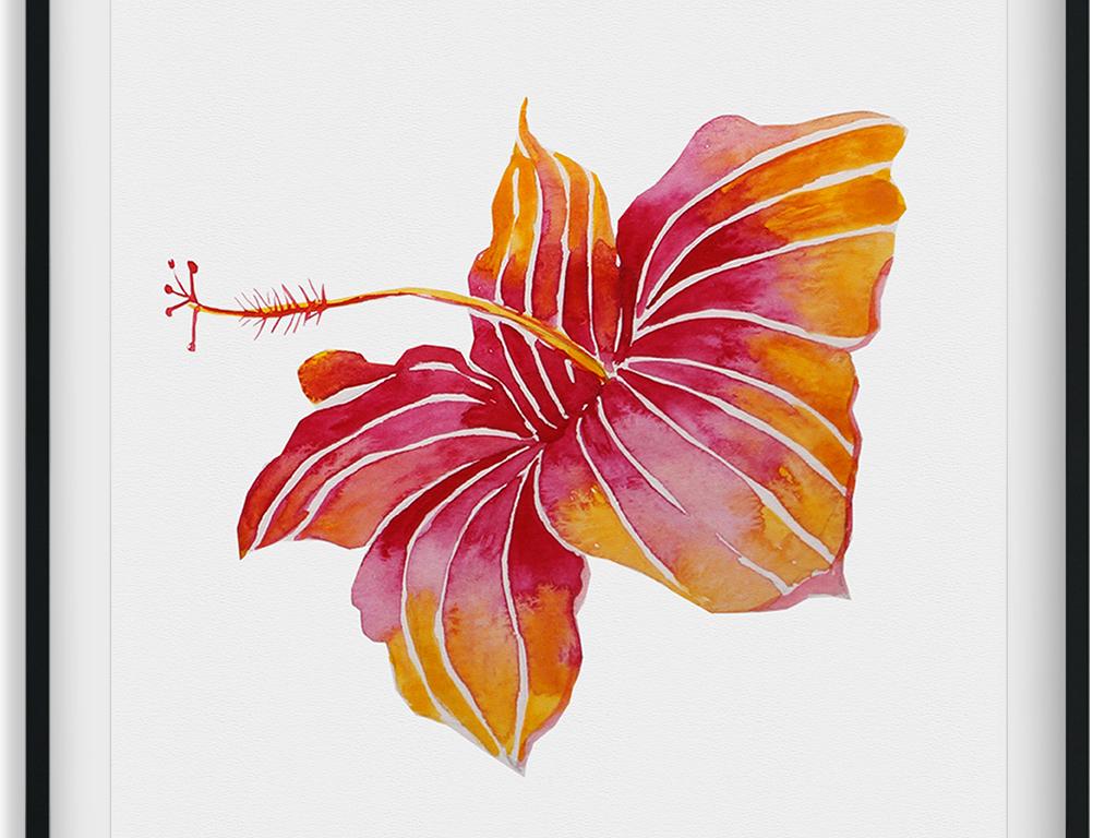 北欧风格手绘卡通植物叶子菠萝无框画装饰画