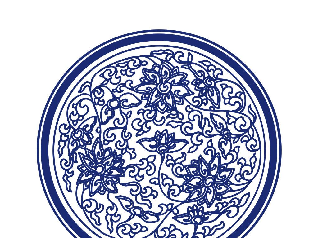 传统吉祥花青花瓷圆盘图案
