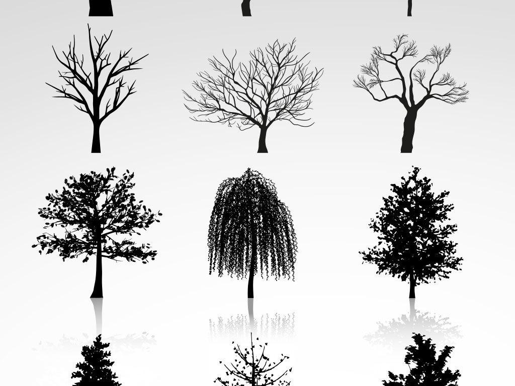 黑白素材树木素材卡通人物卡通背