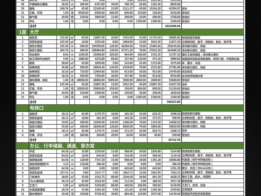 大型酒店宾馆装修预算表决算表报价表模板图片下载xlsx素材 财务报表