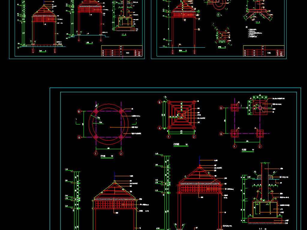 走廊和亭子及广场绿化cad平面图