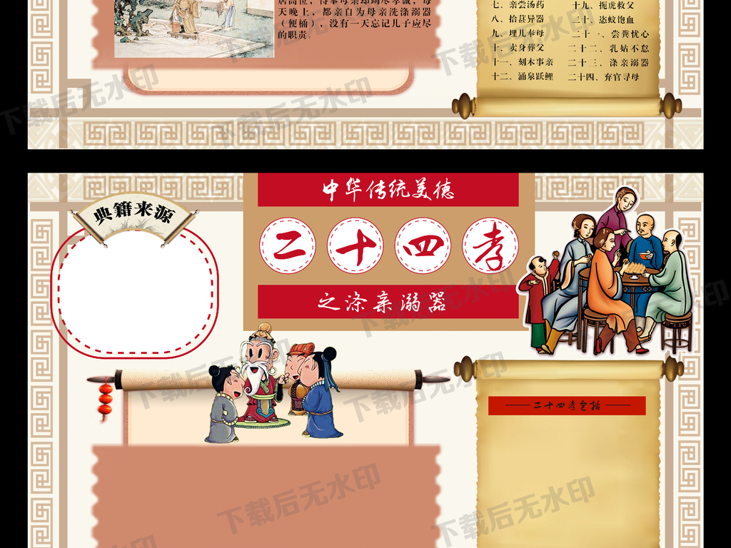 中华传统美德二十四孝之涤亲溺器手抄报模板