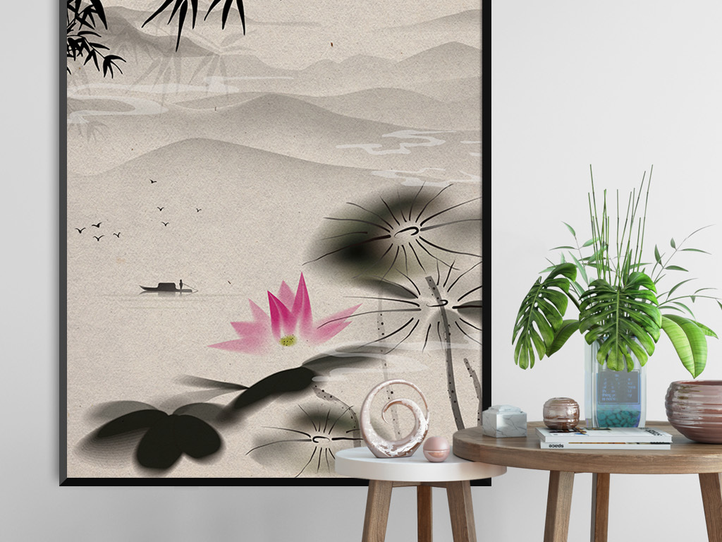 禅意新中式水墨山荷花水客厅装饰画无框画图片