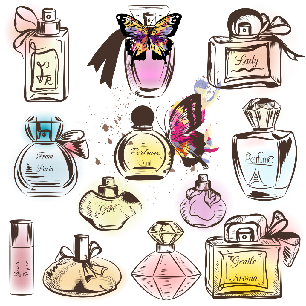 手绘水彩创意香水