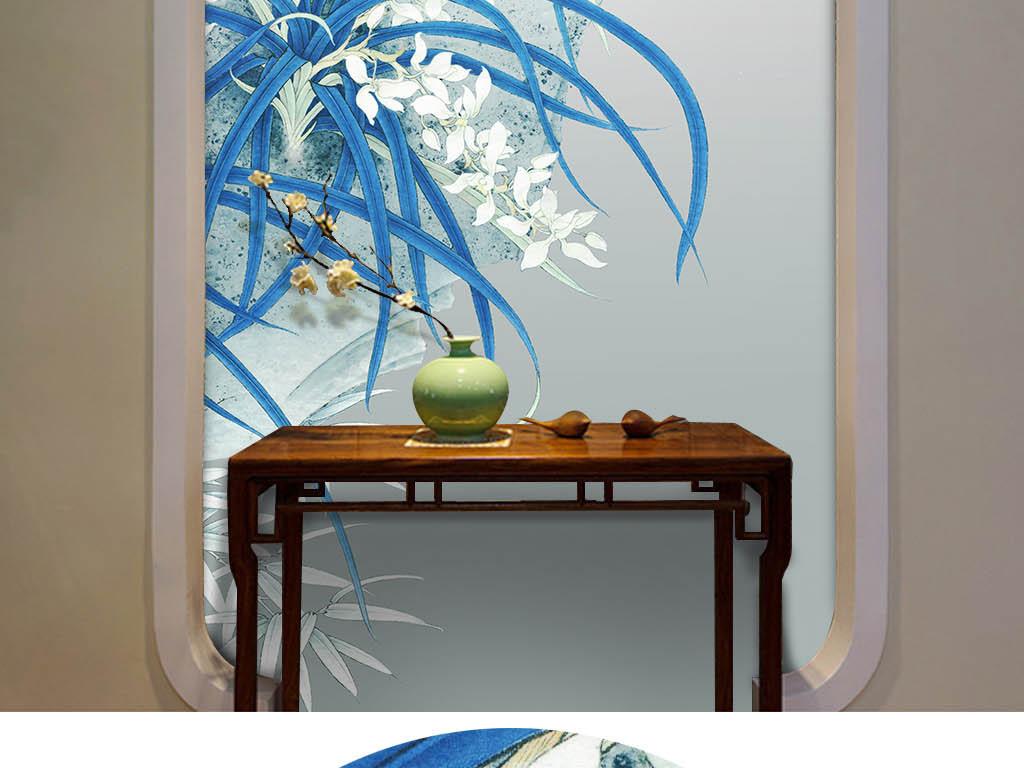 新中式手绘君子兰幽谷素兰电视背景