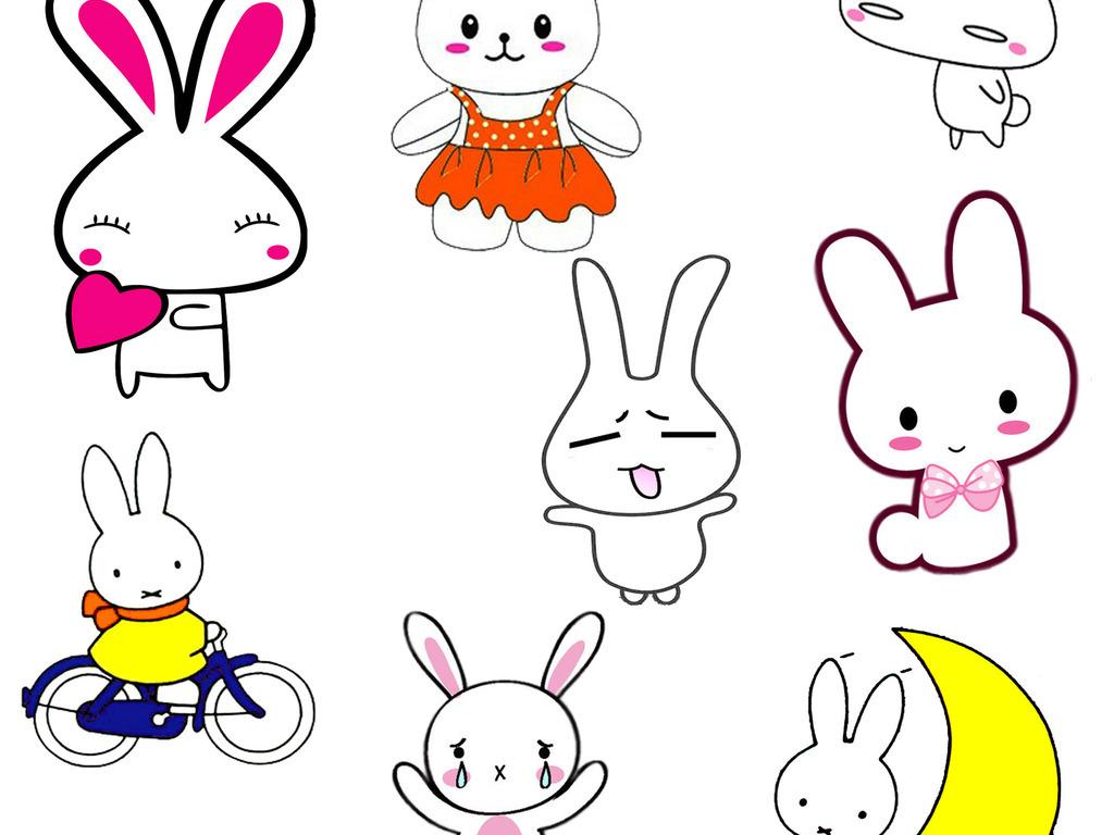 儿童画手绘插画可爱兔子卡通小白兔设计元素ps素材png