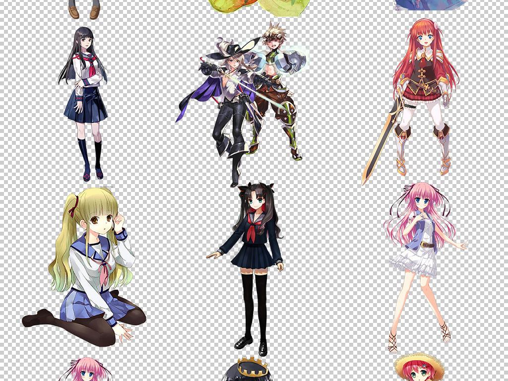 日本动漫卡通游戏女生人物png设计素材