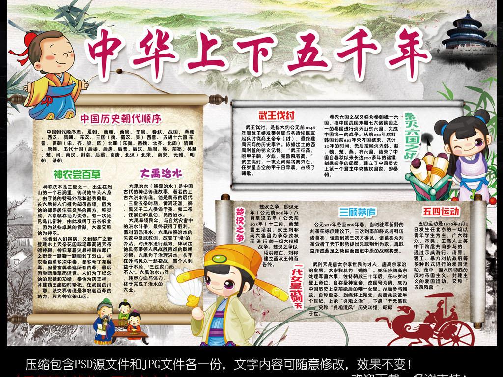中华上下五千年小报历史朝代读书手抄报小报图片素材 psd模板下载 图片