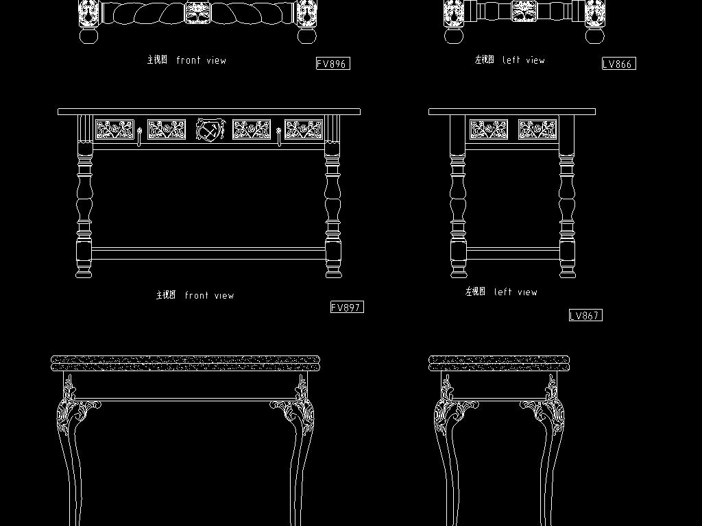 欧式家具cad设计图图片