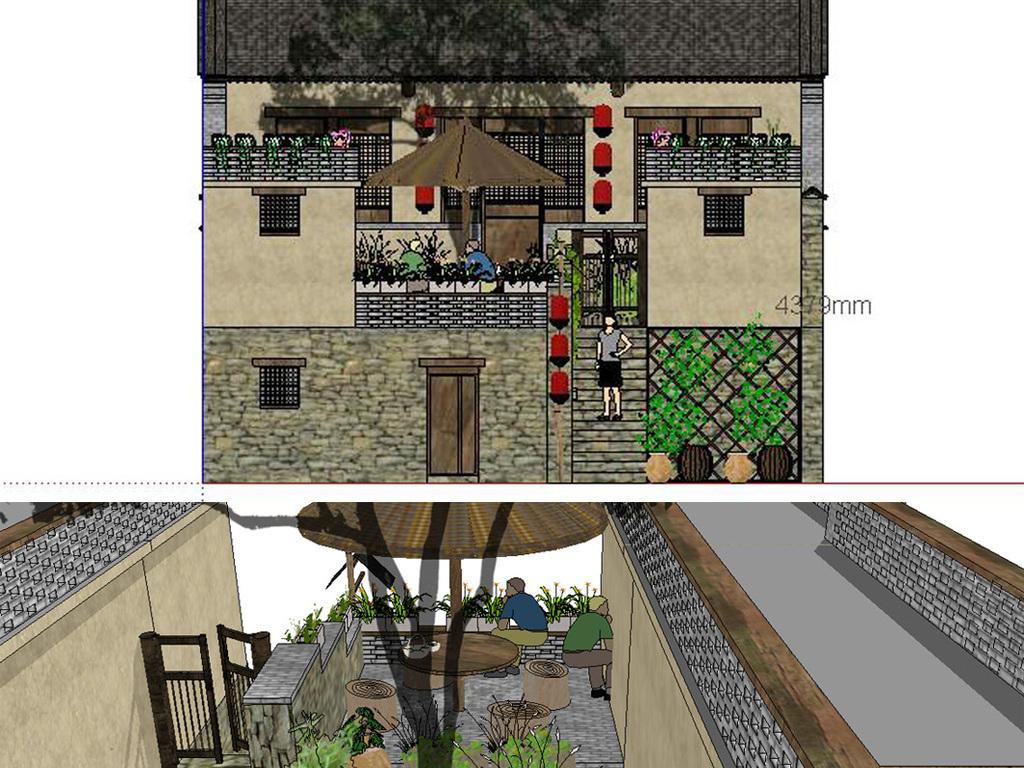 民宿庭院平面图手绘