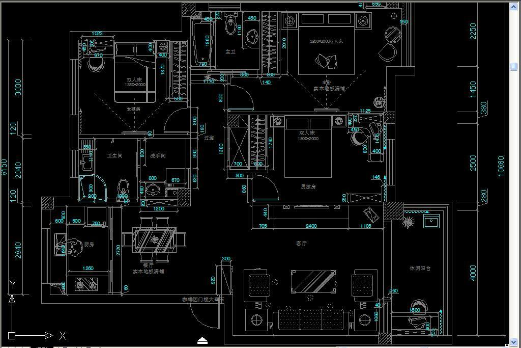 现代风格三室一厅全套设计施工图纸图片