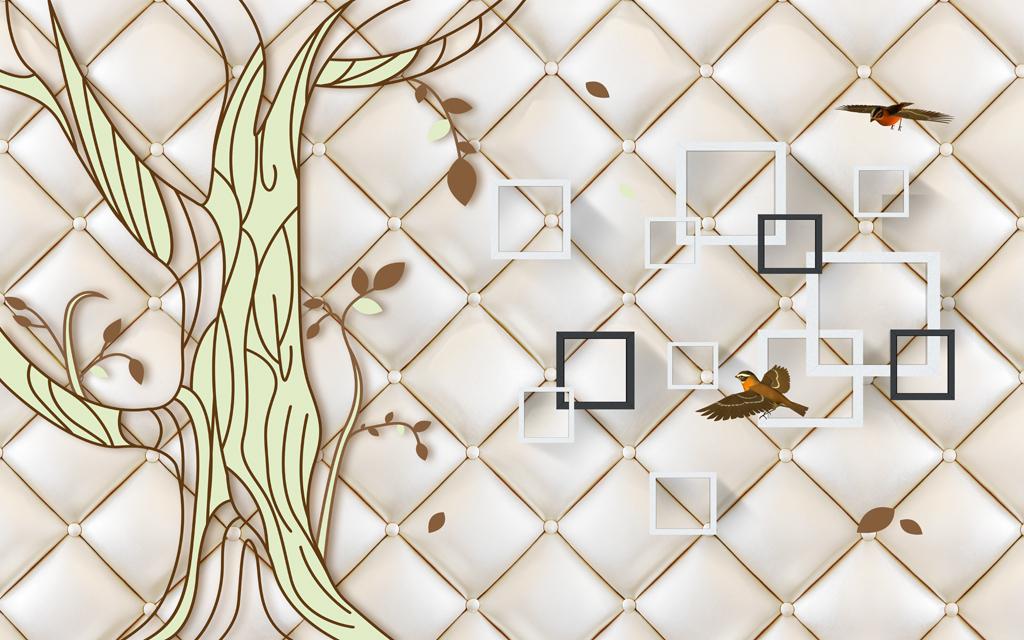 现代简约田园抽象手绘大树小鸟方块欧式花纹软包背景墙