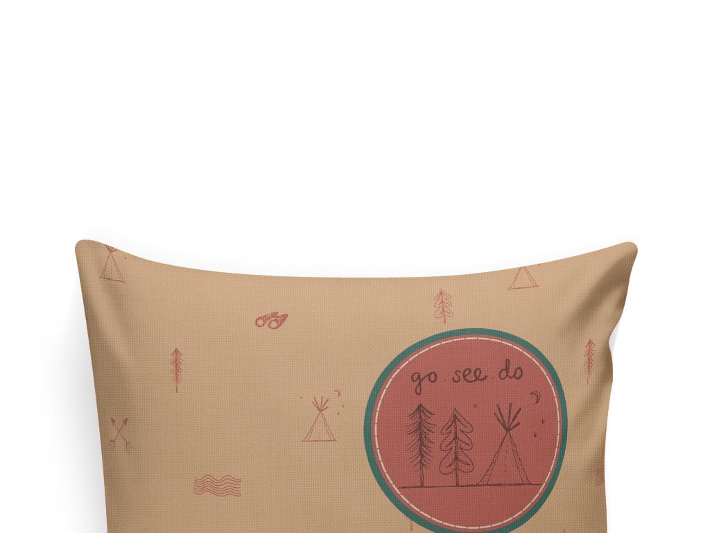 手绘生活元素抱枕图案设计