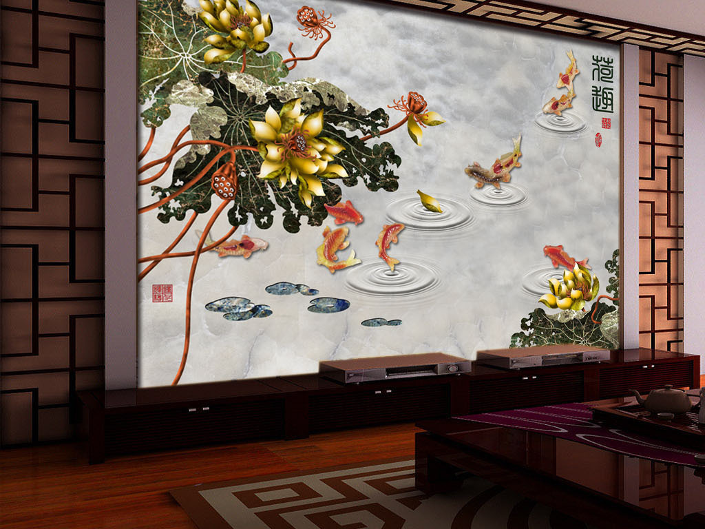 新中式荷趣荷花九鱼图客厅电视贵背景墙