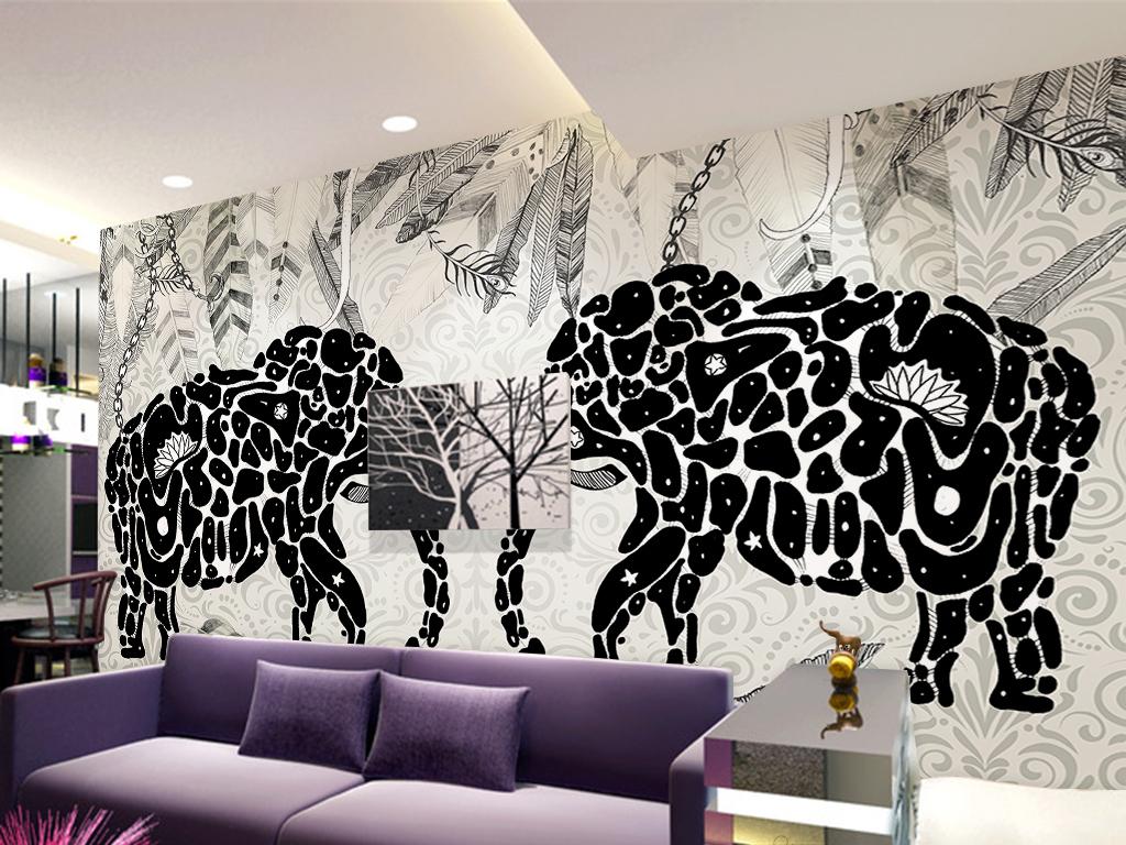 手绘印第安风格黑白大象背景墙