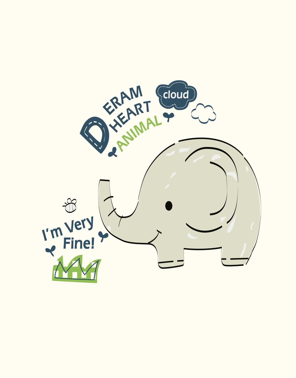 卡通动物大象图文组合