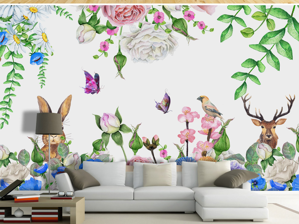 唯美手绘鲜花小鸟森林蝴蝶兔子黄金鹿背景墙