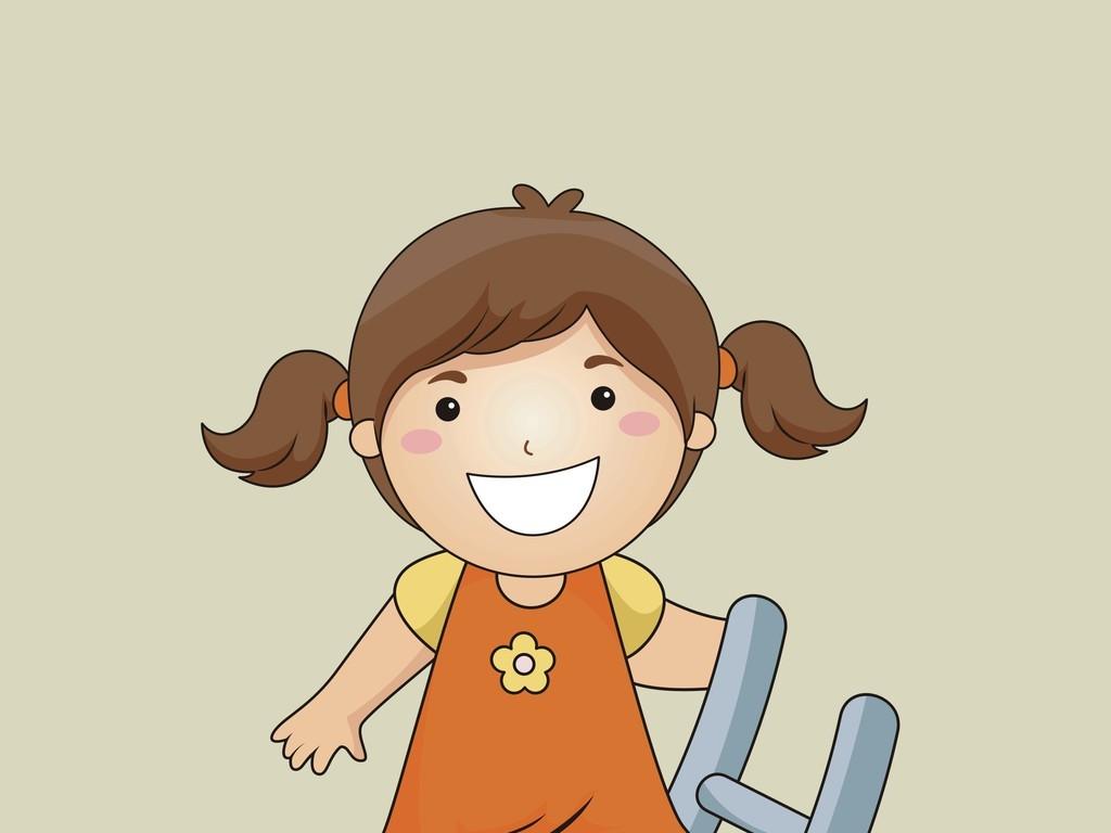 卡通人物矢量图小女孩儿童