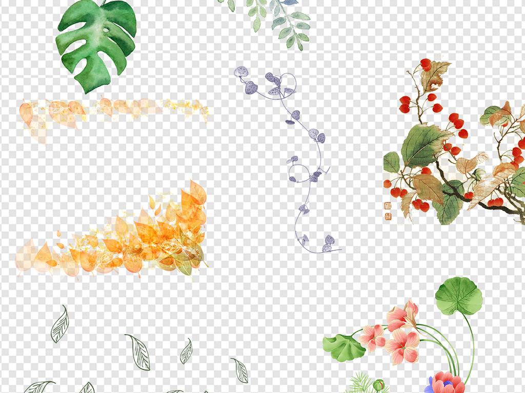 边框手绘树叶线稿                                  植物纹路叶子线