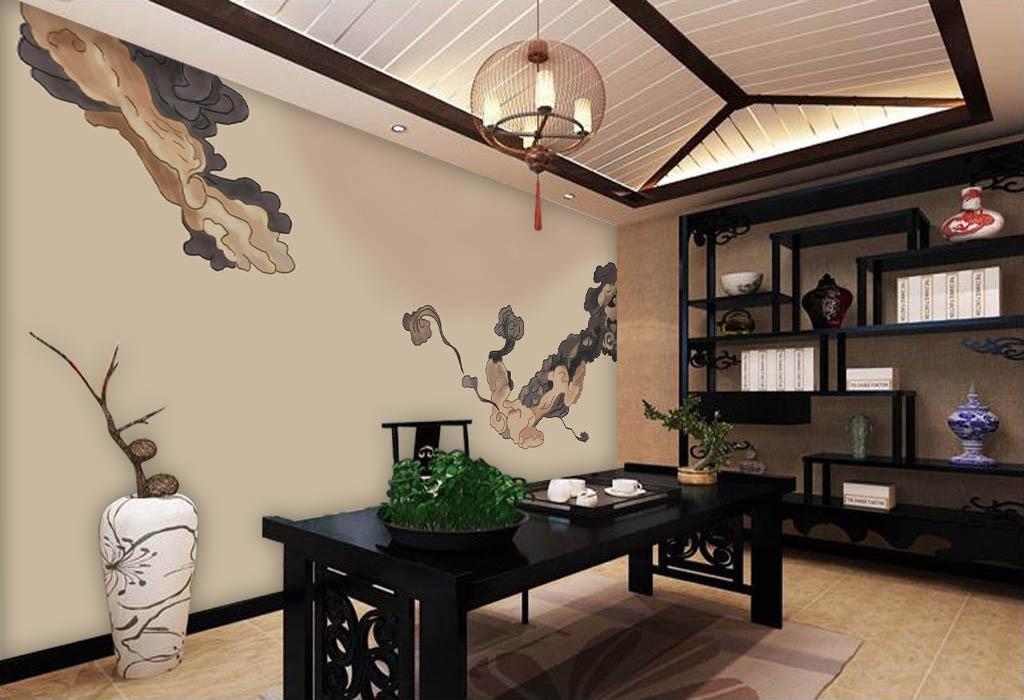 中国风手绘祥云中式客厅背景墙