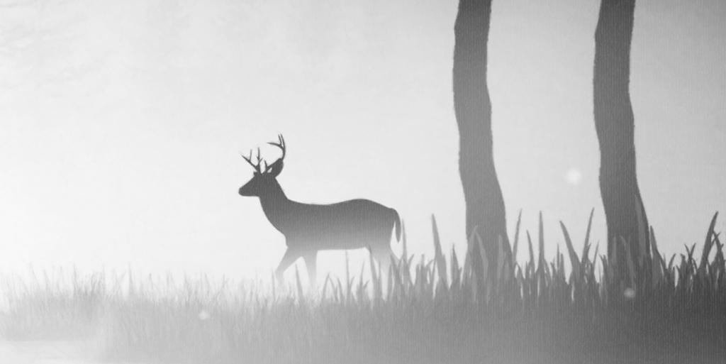 新中式黑白麋鹿风景装饰画