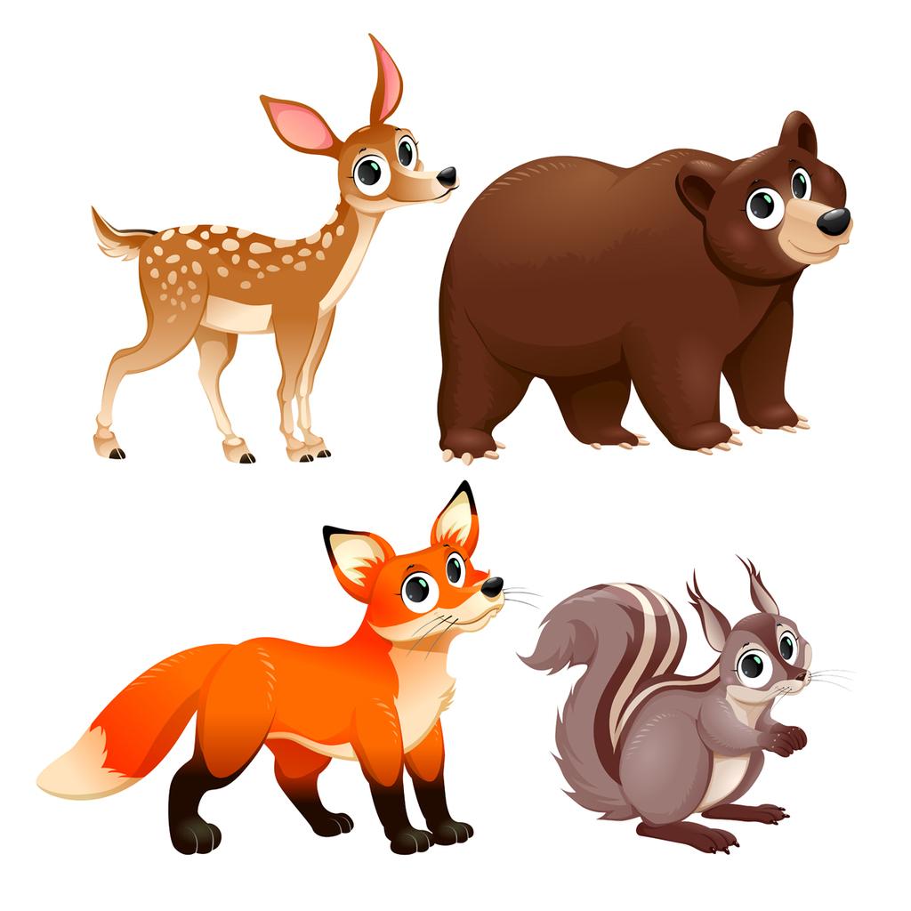 卡通鹿熊狐狸森林动物矢量素材