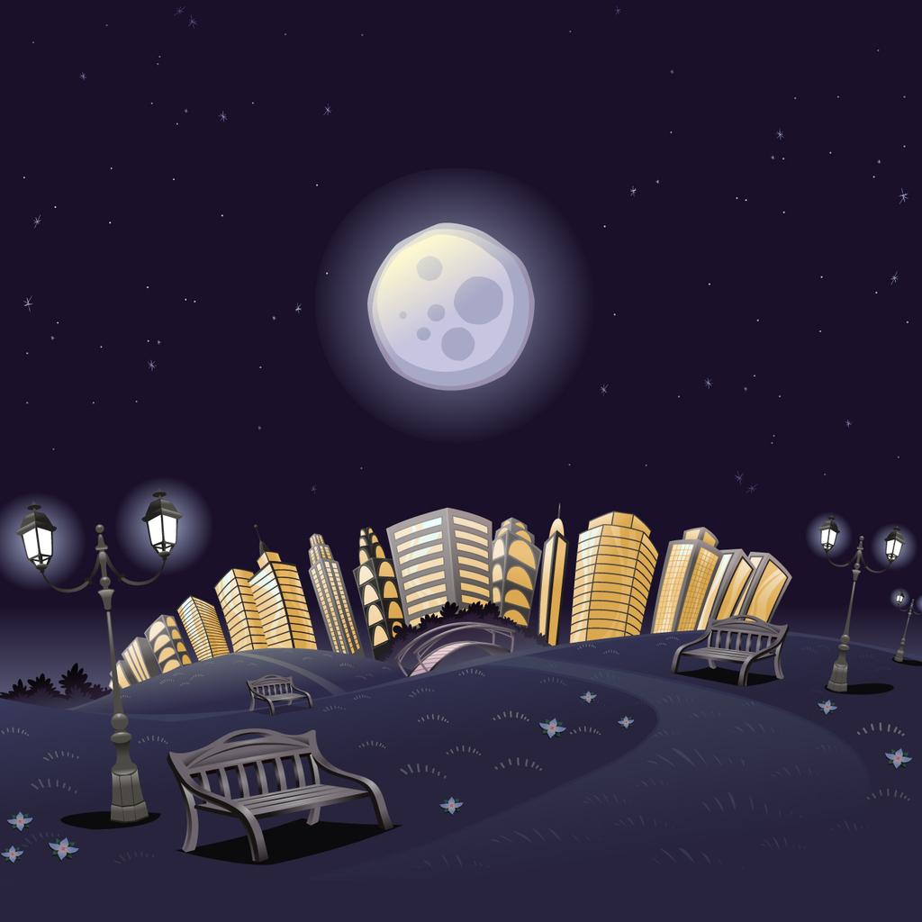 卡通城市夜晚月亮建筑路灯矢量图
