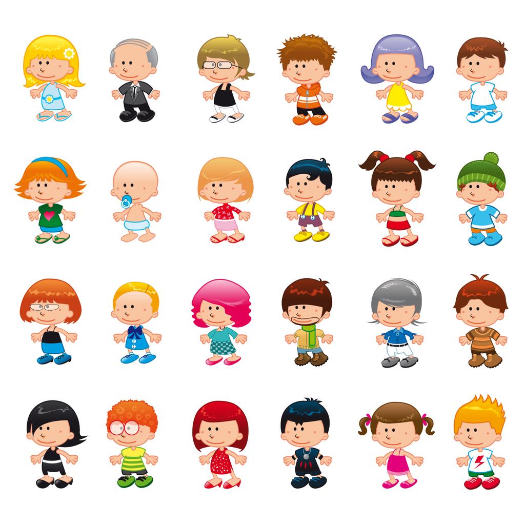 卡通小孩创意变形头各种表情矢量素材