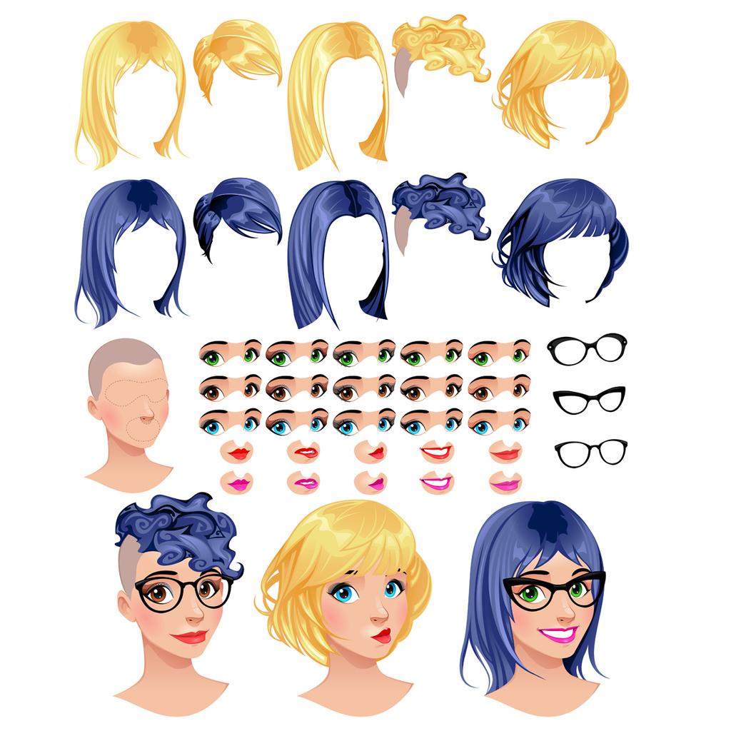 卡通女士发型发色五官眼睛眼镜框矢量图
