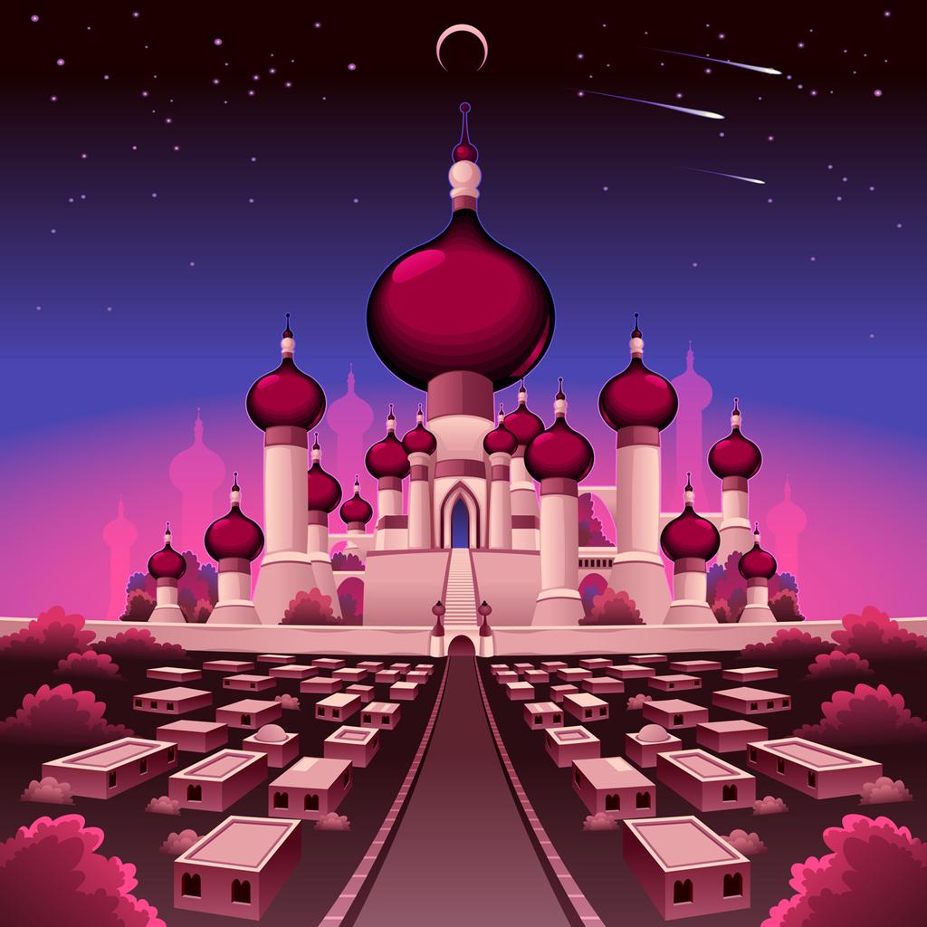 卡通城堡彩色夜景矢量图