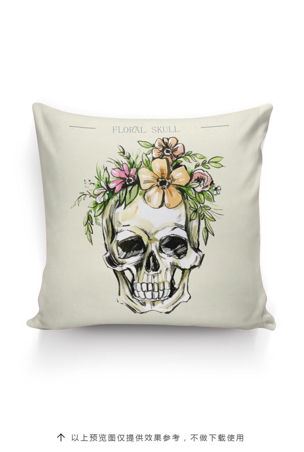 骷髅头抱枕图案设计手绘骷髅头插画花卉
