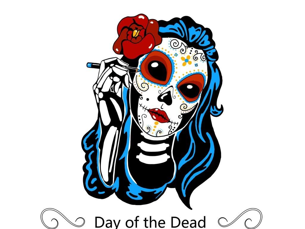 骷髅头手机壳图案设计手绘骷髅头插画花卉