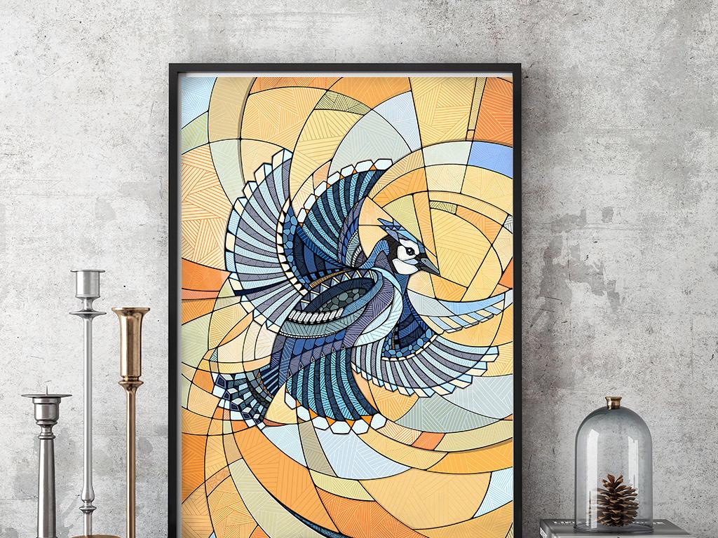 华丽风格手绘线条吉祥鸟装饰画