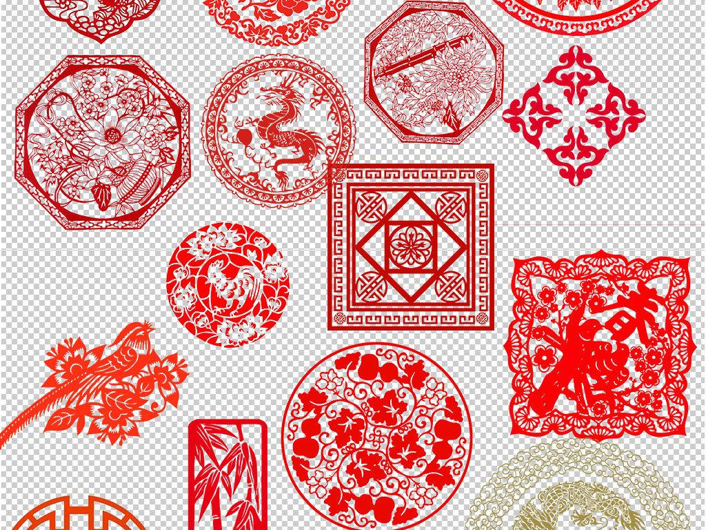 png)中式窗花图案古典欧式                                  红色