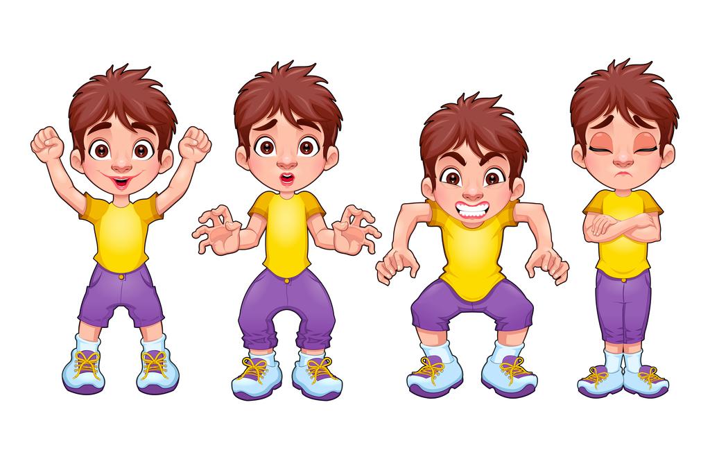 卡通人物男孩表情动作矢量图