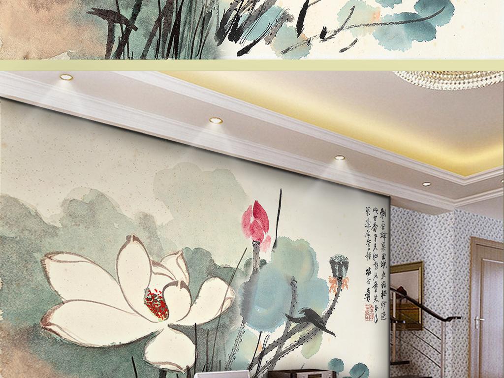 古典新中式意境手绘荷花电视背景墙爱莲说