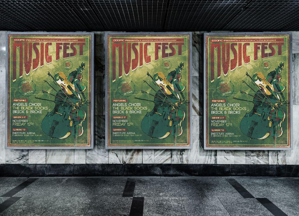 怀旧复古手绘创意古典音乐演出宣传海报模板