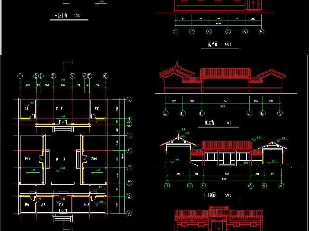 结构图四合院庭院cad立面图仿古设计四合院古建筑cad图纸古建筑cad图