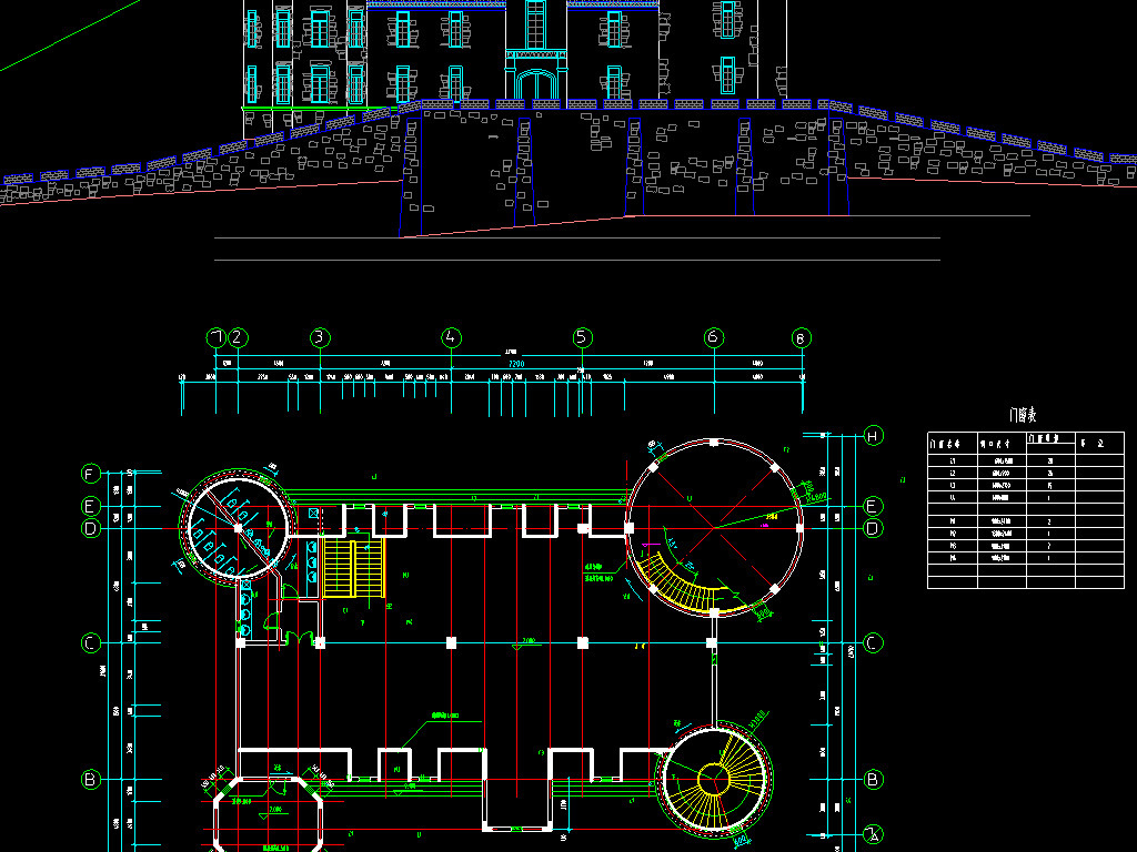 结构图楼房古亭cad工程图室内设计故园景观设计牌坊走廊古屋cad建筑图