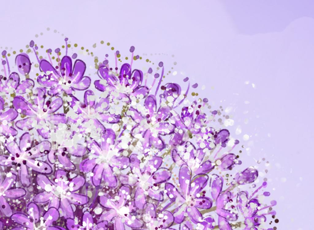 紫色蒲公英倒影电视背景墙