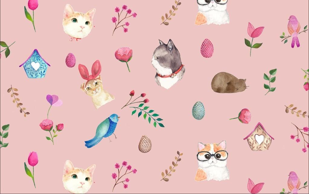 花草印花猫咪小清新简约卡通动物