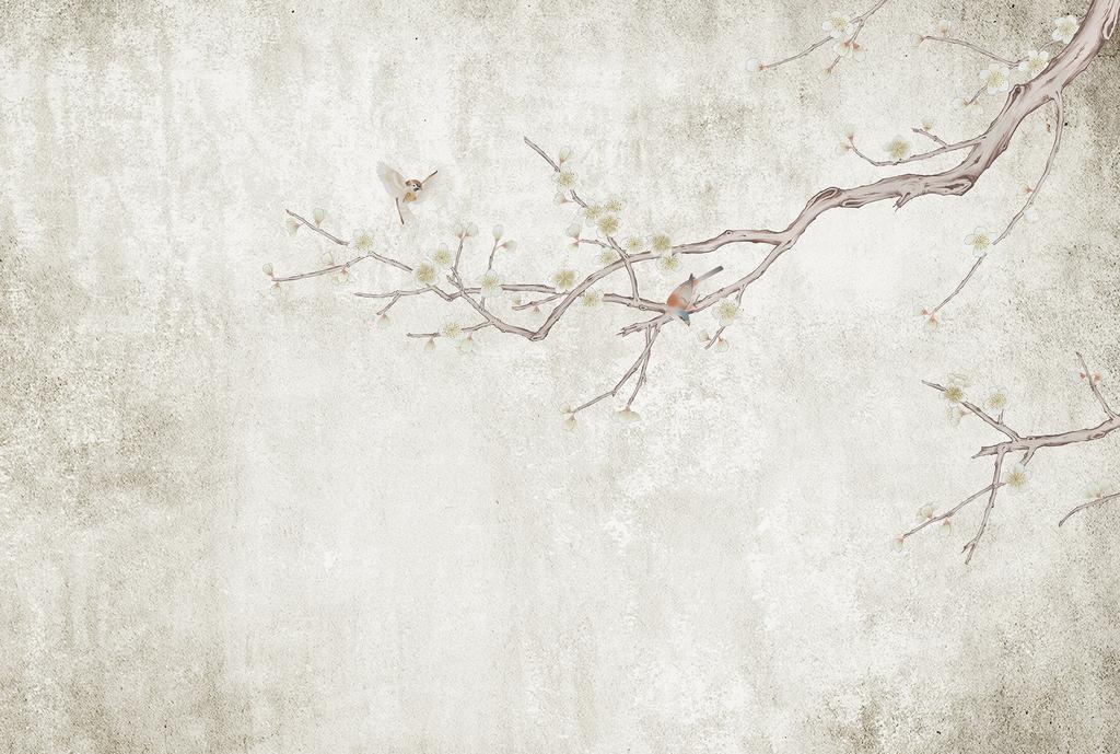 新中式手绘工笔花鸟背景墙装饰画