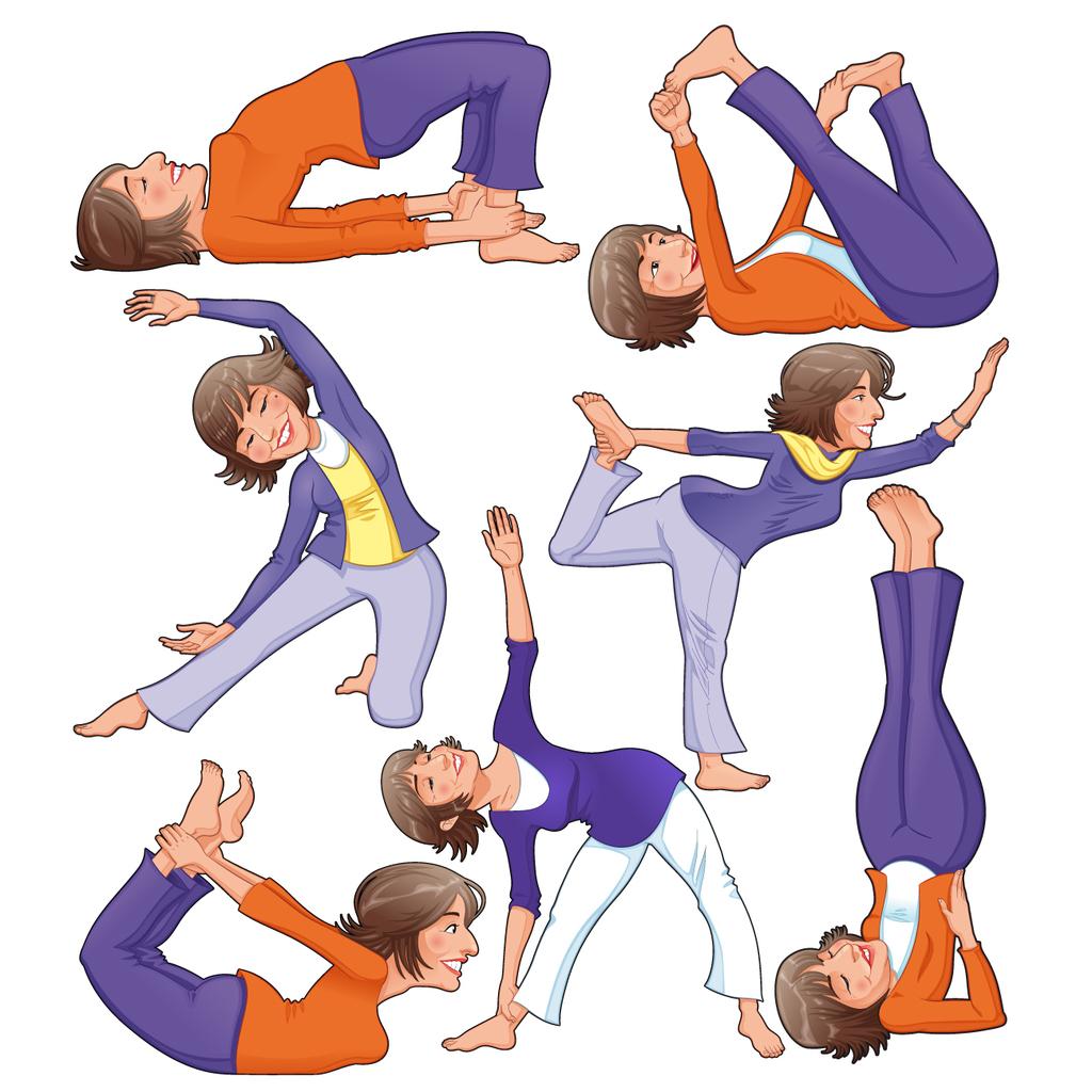 卡通人物女士瑜伽运动矢量图