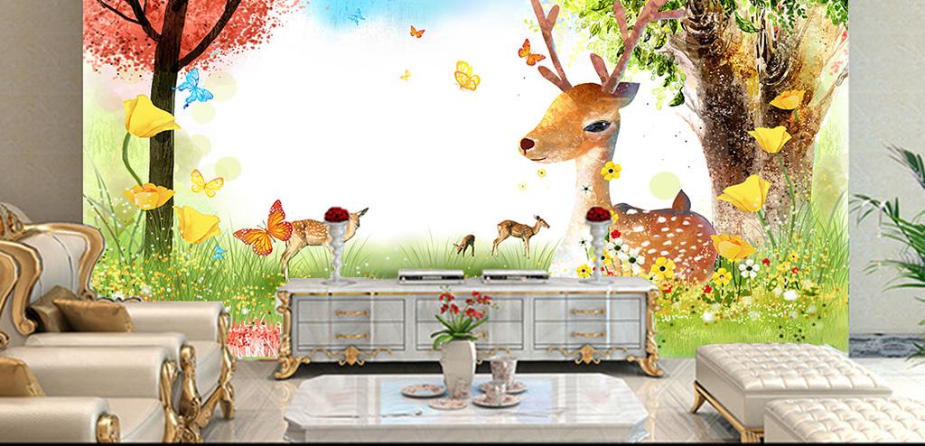 手绘水彩树林梅花鹿电视背景墙装饰画
