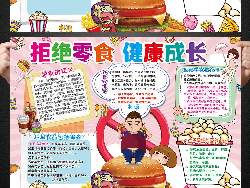 食品安全小报拒绝垃圾零食手抄报电子小报