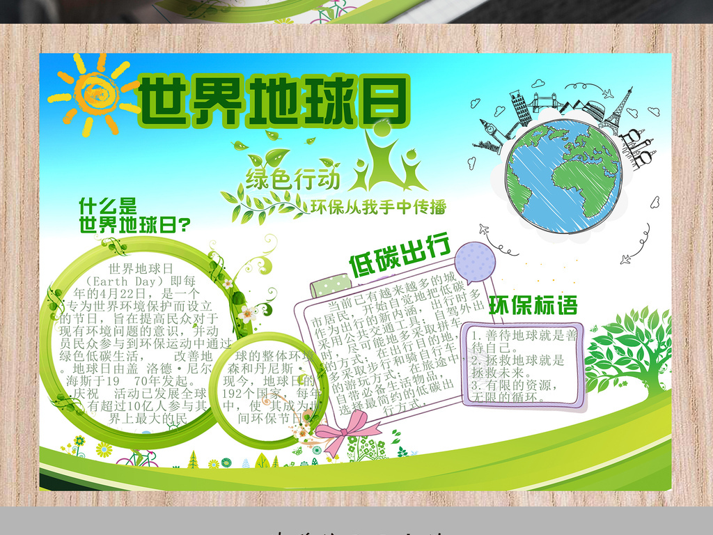 绿色卡通世界地球日环保电子小报