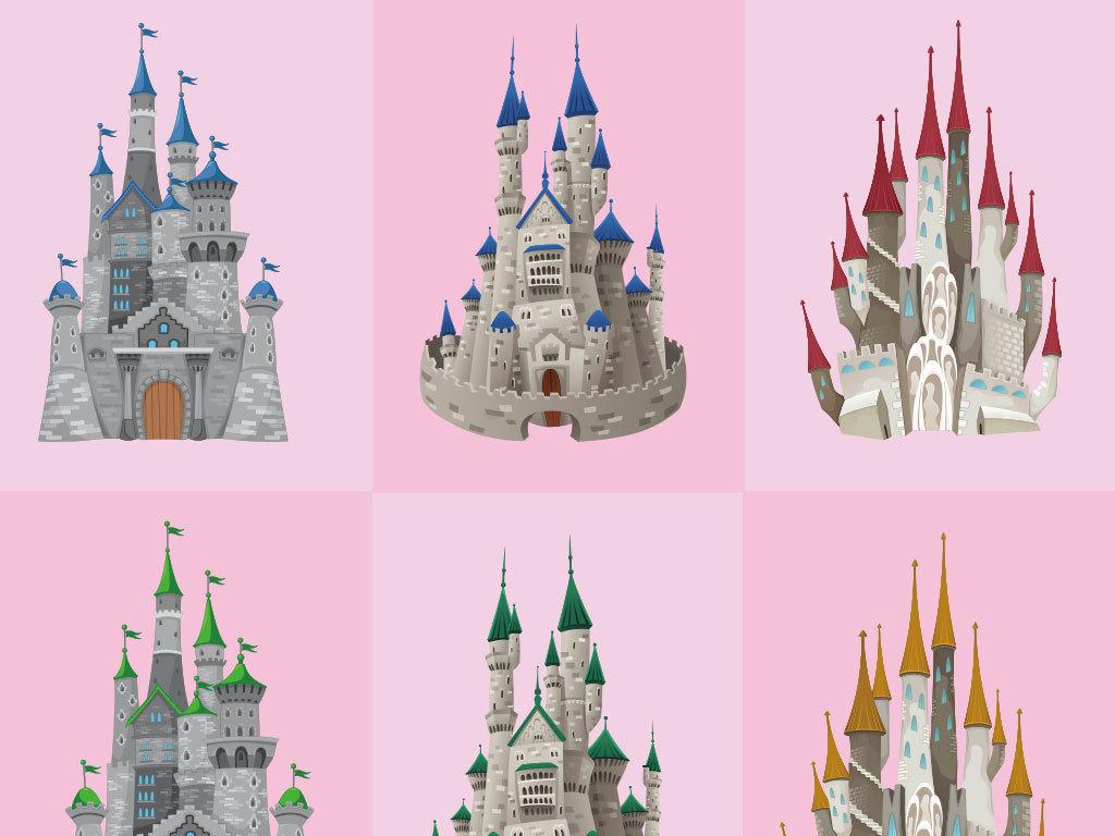 卡通城堡矢量素材